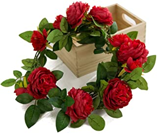 Eternal Blossom Fake Peony Wreath 1.8M Artificial Rose Vine for Front Door Garden Party Decoration Vine Wedding Home Decor (Red)