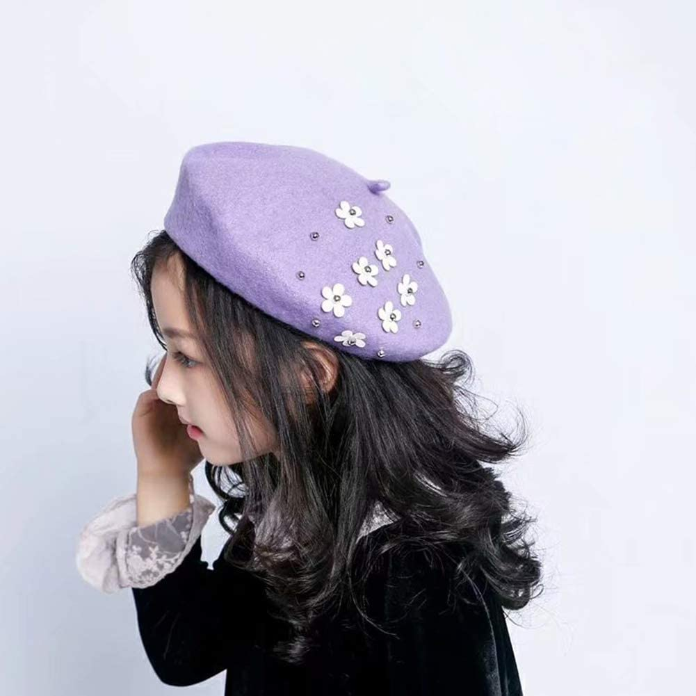 AIBEARTY Kids Girls Beret Hat Solid Color Soft Beanie Cap