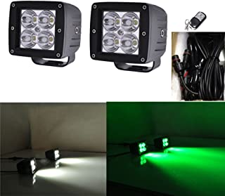 Night Break Light 2pcs 24W White Green Color Changing Led Pod Remote Controller 9 Flashing Patterns for Offorad Jeep 4wd Truck 4x4 USV ATV White Green Led Strobe Lights Emergency free Wire Harness