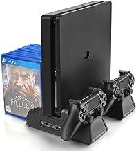 پایه عمودی برای PS4 / PS4 Slim / PS4 Pro - فن خنک کننده با شارژر کنترل کننده PS4 ایستگاه شارژ با ذخیره سازی بازی (سیاه)
