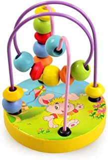 Children's Educational toys baby beaded baby intellectual fun small round beads Wooden Bead Maze Roller Coaster Game Class...