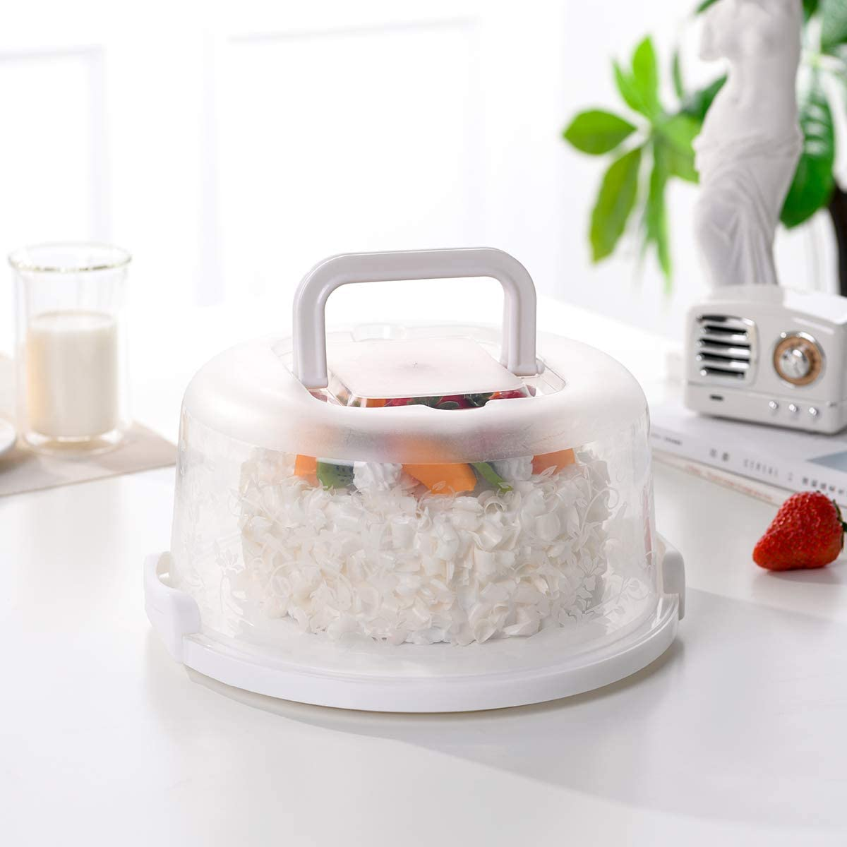 White Plastic Cake Stand with Collapsible Handle Small Cake Carrier Cake Container for 6 inch Cake or Less