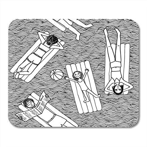 Mauspads Sonnenbaden Strand Schwarz-Weiß-Muster von Menschen, die auf Luftmatratzen im Pool liegen Gezeichnetes Mauspad für Notebooks, Desktop-Computer Büromaterial