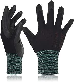 DEX FIT Black Nylon Work Gloves FN320, 3D Comfort Stretch Fit, Power Grip, Thin Lightweight, Durable Foam Nitrile Coating, Machine Washable, Medium 3 Pairs Pack
