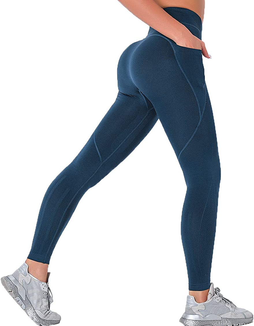SLIMBELLE Women Seamless Workout Leggings High Waist Ruched Butt Lifting Yoga Pants Tummy Control Scrunch Booty Gym Tights