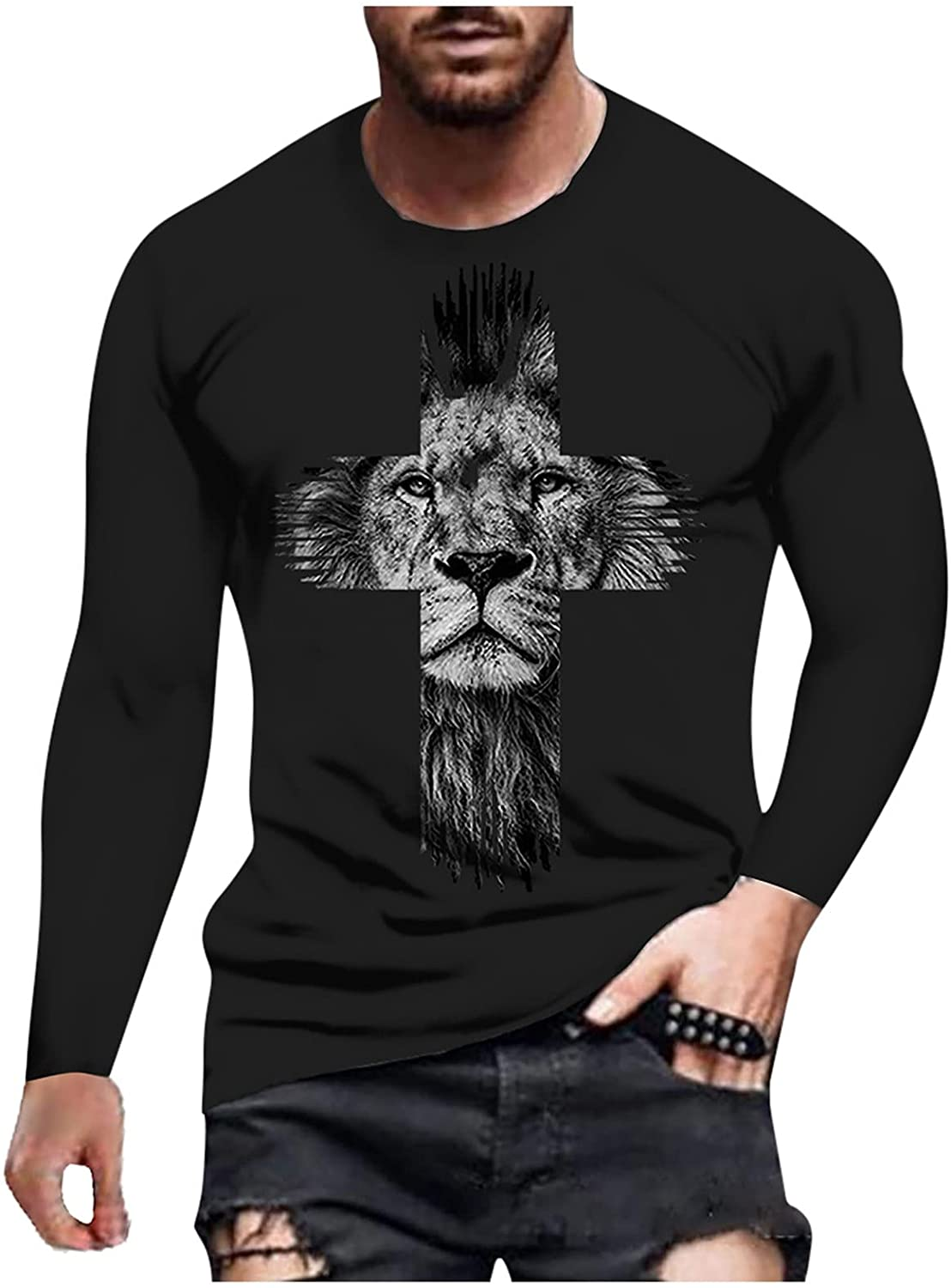 WoCoo Mens Long Sleeve T-Shirt Jesus Cross Printed Round Neck Tops Casual Vintage Pullover Blouse Workout Quick-Dry Top