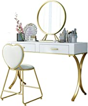 Dressing Table Set with LED Lighting Mirror, Padded Stool, Solid Wood Furniture, Desk, Suitable for Women, Bedroom Furnitu...