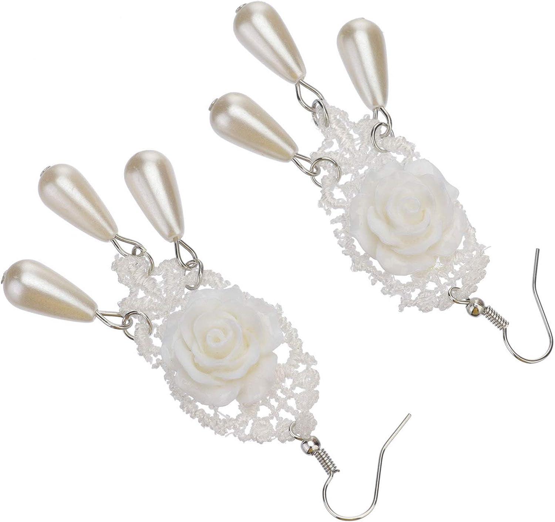 Amosfun 2pcs Women Girls Earrings Stud Rose Pearl Lace Jewelry Drop Dangle Flapper Party Ear Stud Christmas Xmas Ear Cuffs