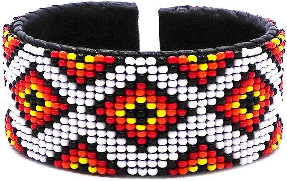 Mia Jewel Shop Handmade Native American Style Tribal Fire Diamond Pattern Thick Seed Bead Black Leather Cuff One Size Adjustable Bracelet