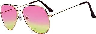 نظارات شمسية كلاسيكية بنمط افياتور ودرجتين من اللون وعدسات بلون ذهبي وإطار معدني