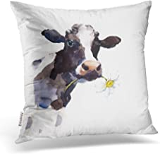 Emvency Throw Pillow Covers Watercolor Cow A Daisy Flower In Its Mouth Farm Animal Portrait Hand Decor Pillowcases Polyester 18 X 18 Inch Square Hidden Zipper Home Cushion Decorative Pillowcase