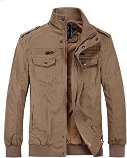 Men's Jacket Casual Stand Collar Jacket Business Soft Shell Windbreaker Outdoor Riding Outwear Windproof Warm Parker Coat (Color : Khaki, Size : L)