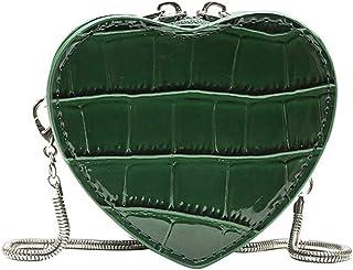 Sylviaian Special Women Fashion Serpentine Leather Heart Shape Chain Bags Mini Shoulder Bag Crossbody Bag