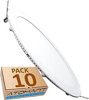 Led Atomant Pack 10x Panel Downlight Led Redondo Plano, 18 W, Blanco Neutro 4500K, 1600 Lumenes reales! Driver Incluido, Corte Standard 200 mm,
