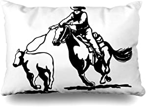 Ahawoso Decorative Throw Pillow Cover Queen 20x30 Classic Rodeo Calf Roping Clipart People Rope Sports Recreation Cowboy Horse Americana 1950S Retro Zippered Pillowcase Home Decor Cushion Case