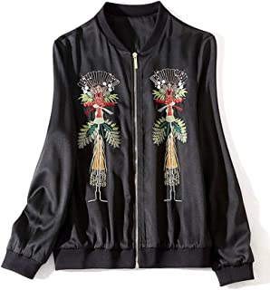 Women's Stand Collar Gold Thread Embroidered Jacket Long Sleeve Threaded Baseball Jersey,Black,S
