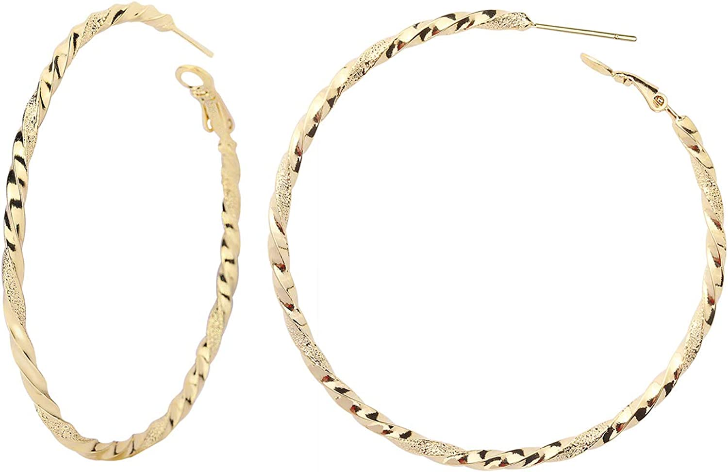 Twisted Hoop Earrings - Big Women for in Ranking Milwaukee Mall TOP1 Plated 14