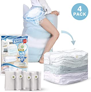 Hi Storage 4 PCS Vacuum Storage Bags 1 Cube = 3 Regular Bags (31 x 40 x 15 inch Jumbo) Space Saver for Duvets Quilts Blankets Organizer, Free - Vacuum & Pump Design, Clear Frosted Material