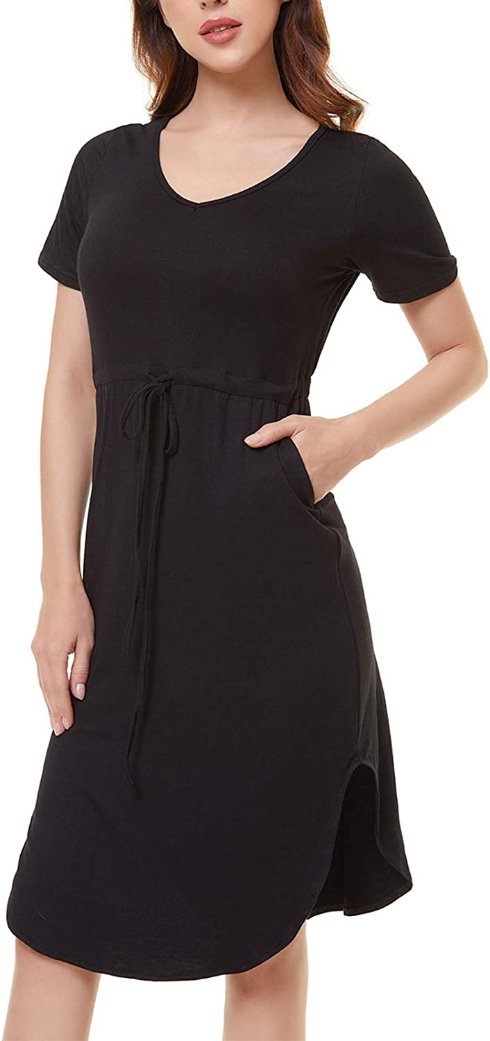 lwtihsth Midi Dresses for Women Casual Summer Dress with Sleeves Cotton Bodycon Midi t Shirt Dress with Pockets