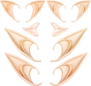 5 Pairs Latex Elf Ear Pixie Dress Up Costume Soft Pointed Goblin Fairy Ears Cosplay Halloween Party Props, Anime Party Vam...