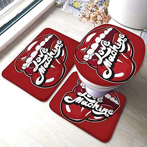 Aubrdon Badematte 3-teiliges Set Teppich-Liebesmaschine mit offenem Mund