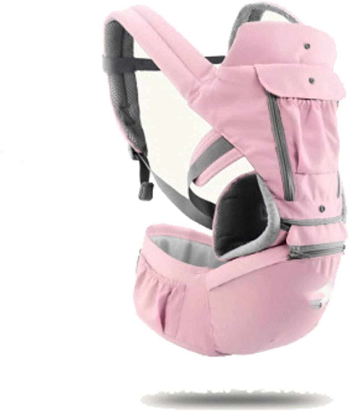 HWZZ Portabebés para Bebés Tipo De Retención Frontal Multifuncional Cuatro Estaciones Ventilación General Kid Hipseat Sling para Viajes De Bebé De 0 A 36 Meses,Rosado