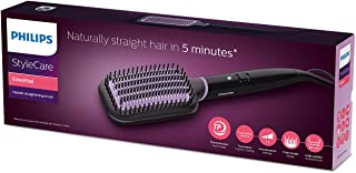 Philips StyleCare Essential Heated Straightening Brush BHH880, Auto Shut-off with ThermoProtect technology, Tourmaline Ceramic Coating for a Naturally Straight, Shiny & Frizz-free Hair