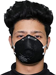 ORILEY O2 OR6LM01 6 Layer Face Mask with Filter Valve Nose Mouth Respirator for Men & Women (Black, 1 PC)