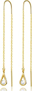 Esberry 18K Gold Plating 925 Sterling Silver CZ Hollow Teardrop Dangle Earrings Cubic Zirconia Circle Hypoallergenic Earrings Jewelry for Women and Girls