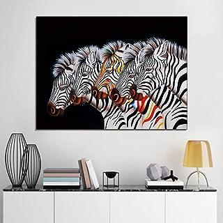 XIANRENGE Peinture À l'huile Peinte À La Main sur Toile,Zebra Animal Coloré Tableau Abstrait Peinture,Grand Mur Moderne Ar...