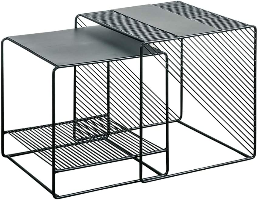 Marco de Metal Negro LAMXF mesas Nido auxiliares para Salon Mesas de caf/é con Extremo anidable Snack Lateral Mesas Decorativas para Sala de Estar Aspecto de Metal Industrial Juego de 2