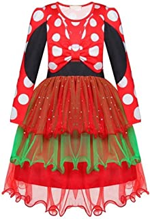Tsyllyp Girls Christmas Dress Faux Fur Mrs. Claus Costume Holiday Party Dresses