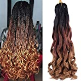 Spanish Curly Braids Hair 7 Pack Loose Wavy Spiral Curl Braids French Curl Crochet Braid Deep Wave Synthetic Hair Extensions Pre Stretched Bouncy Braiding Hair 22 inch 75g/pack (22 inch (7 pack), TB/30/27#)