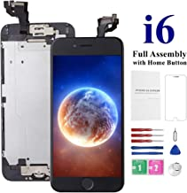 for iPhone 6 Screen Replacement with Home Button Black, Mobkitfp Full Assembly Screen Replacement for iPhone 6, Model A1549, A1586, A1589 with Camera