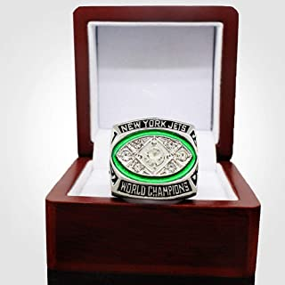 AJZYX NFL 1968 New York Jet Championship Replica Rings Jewelry Collectible Gift for Fans Without Display Case Size 11