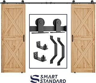 SMARTSTANDARD 10 FT Top Mount Double Sliding Barn Door Hardware Kit Whole Set, Include 2 Pull Handles & 2 Floor Guides, Fit 30