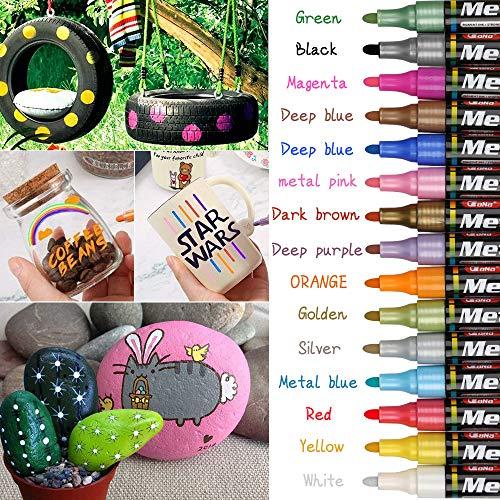 Set di pennarelli metallici, 15 colori impermeabili, pennarelli permanenti, ad asciugatura rapida, colori acrilici, per pietra, pittura vetro, carta, ceramica
