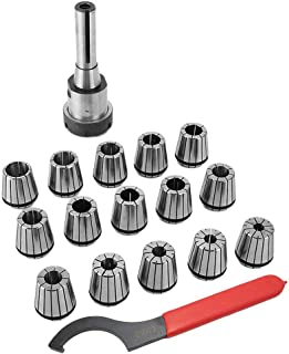 CATUO ER40 Collet Chuck R8 Shank Spanner with 15 PC collets Set - Gripping Range 1/8-1