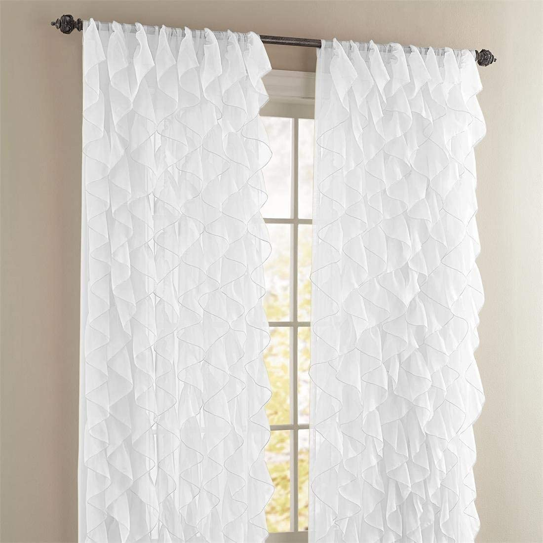 Rooney 2PC Sheer Voile Ruffled Curtain White lowest price 63