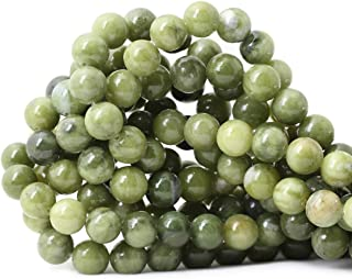 Qiwan 35PCS 10mm Natural Color Taiwan Green Jade Green Stone Round Loose Beads for DIY Jewelry Making