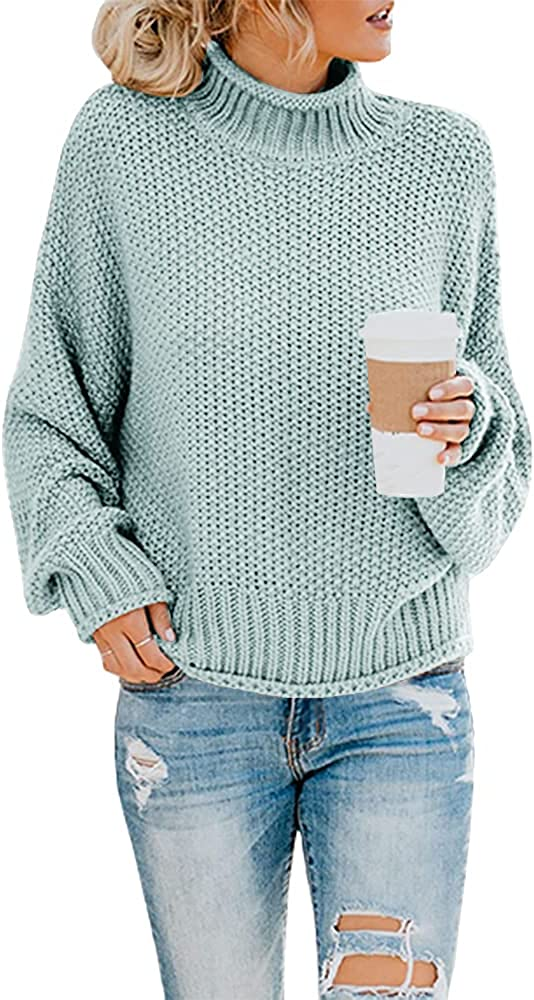 Ashuai Womens Turtleneck Sweaters Casual Oversized Chunky Batwing Long Sleeve Pullover Loose Knitted Jumper Top