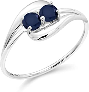 Gem Stone King 10K White Gold Bypass Ring 0.50 Ct Round Blue Sapphire