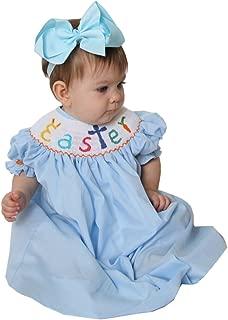 Hand Smocked Girls Easter Bunny Cross Blue Bishop Dress