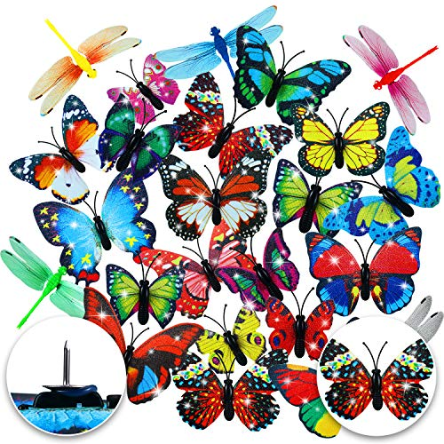 48 Pieces Butterfly Thumb Tacks Butterfly Push Pins Dragonflies Photo Map Pins for Photos Wall Corkboard Bulletin Board Photo Wall Decorations, Random Pattern