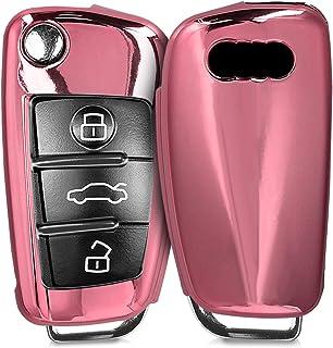 para Llaves Carcasa Cover de Mando y Control de Auto en de kwmobile Funda para Llave Keyless de 3 Botones para Coche Audi Suave Plateado Brillante TPU