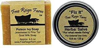 Poison Ivy Soap, Two (4-5 oz. Bars) and Fix It Salve, Two (0.8 oz. Tins), Two Natural Products for Soothing Poison Ivy Tre...