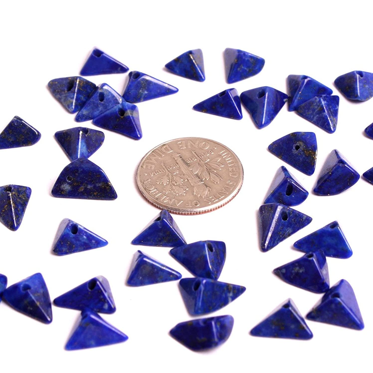 GEM-inside Natural Blue 4X8MM Lapis Lazuli Gemstone Triangle Crystal Energy Stone 38Pcs Loose Beads for Jewelry Making Jewelry Beading Supplies for Women