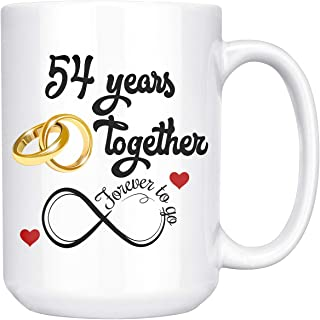 54th Wedding Anniversary Gift For Him And Her, 54th Anniversary Gifts For Her Him, 54th Anniversary Mug For Husband & Wife, 54 Years Together, Married 54 Years, 54 Years Couple (15 oz)