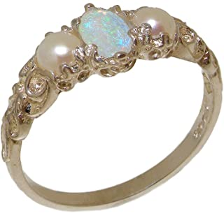 925 Sterling Silver Real Genuine Opal & Cultured Pearl Womens Band Ring