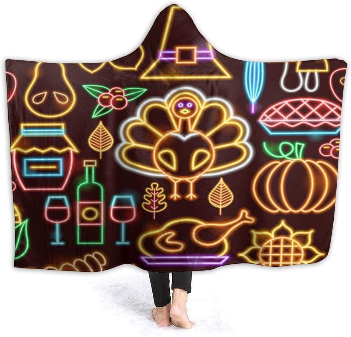 Thanksgiving Neon Seamless Trust Pattern Hooded x 60